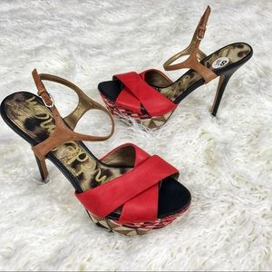Sam Edelman red leather heels